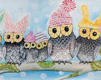 Winter Warmers Owl Art Print