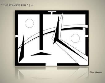 Abstract Black & White Painting Modern Art on Canvas Minimalist Large Wall 'The strange trip' by Klaus Robebsen