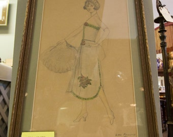 Lovely, framed pencil sketch of lady in Deco style from 1923