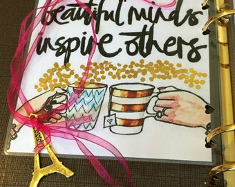 Beautiful Minds Inspire- DOUBLE sided page marker w/ Ribbon & Charm (over sized)