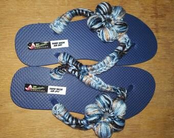 Crochet flower flip flop