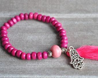 Pearl bracelet wood and Pearl ceramic, fatma.