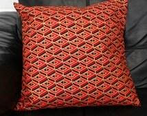 "African cushion 16"" wax print, tribal cushion, red and gold geometric diamond design, handmade"