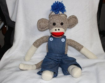 Beautiful Handmade Sock Monkey With overalls