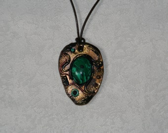 Green Pendant /Polymer clay,malachite /Necklace/Gemstone/Boho OOAK