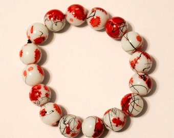 SALE Cherry Lotus Stretch Bracelet