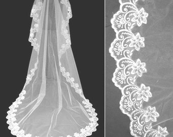 Bridal veil Bride veil Wedding vail Lace veil White bridal veil White wedding veil wedding veils Cathedral veil Head veil