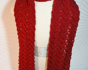 Autumn Red Scarf - Matching Hat Sold Separately