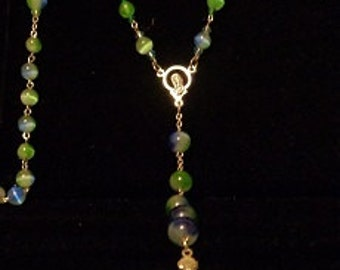 Rosery blue and glass beads