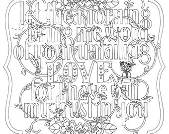 Adult Colouring Page Bible Verse Micah 68 Instant