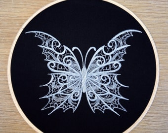 Lace butterfly - embroidered hoop art - silver grey black tattoo style gothic emo fantasy dark entomology embroidery lacy personalised