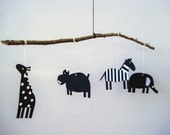 Newborn Baby Animal Mobile, black and white handmade, paper and wood, minimal design mobile, nursery Decoration mobile, best baby birth gift
