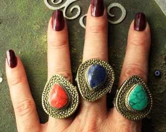 Afghan Kuchi Ring Tribal Teardrop Ring Boho Gypsy Hippie Boho Festival Ring Ethnic Vintage Ring