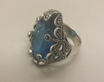 Sterling Silver .925 Ring With Blue CZ or Crystal and Marcasite