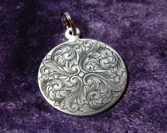 Hand Engraved Scroll Design Nickel Silver Pendant