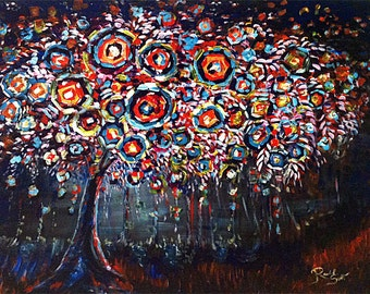 Night Stroll Abstract flowering tree Print, Signed by Artist.