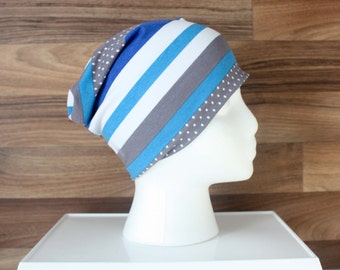 Tuque Slouchie Slouchy Beanie line blue white grey for child style and fashion