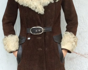 Amazing 1970's Brown Suede Mohair Trim Trench Jacket