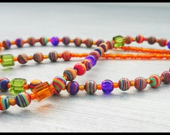 Turkish Striped Glass Beaded Necklace.