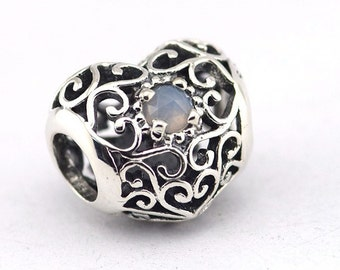 Pandora June Signature Heart Grey Moonstone Birthstone Charm 791784MSG
