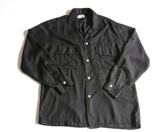 50's black gab shirt with flap pockets, L