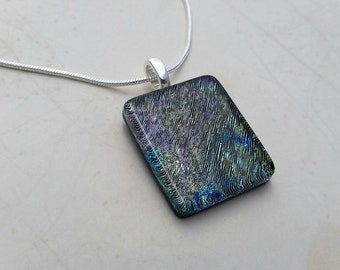 Dichroic Fused Glass Pendant with Blues, Greens, Purples, and hints of Brown 16136