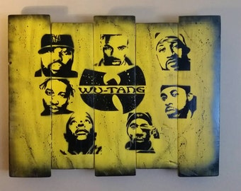 Original Wu Tang hip hop spray art on wood with mounting hardware on backside, free shipping.