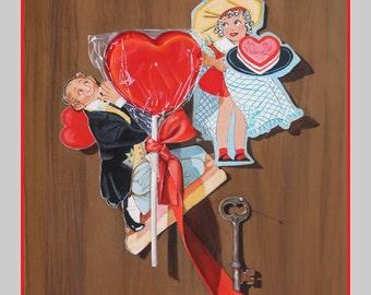 "Art Print, ""Key to My Heart"" by K Henderson, Valentine Giclee Print"