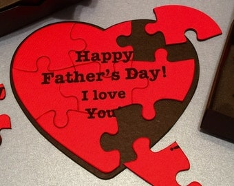 "Father's Day Gift!  With FREE BOX! Happy Father's Day Puzzle!   Heart Shaped Puzzle! Red Heart Puzzle for Father's Day!  ""I Love You"" Puzzle"