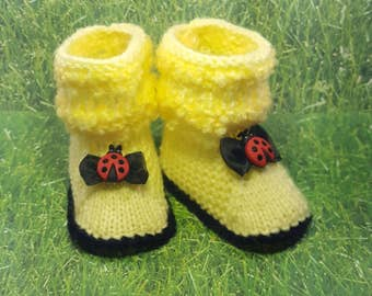 Lady bug, black and yellow Baby booties, baby shoes, gift from grandma knitted baby booties special occasion gift from grandpa socks photo