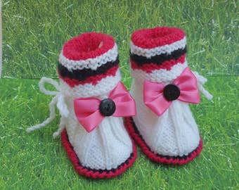 Pink Black White Baby Ankle Boots baby boots,newborn booties toddler bootie baby boots  wool booties toddler gift baby gift kids gift