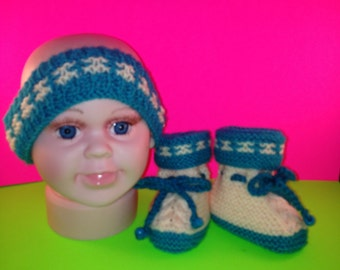 Green and Peach Headband and Booties