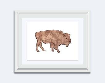 Buffalo printable art - buffalo print - Bison printable - rustic art - kids art printable - buffalo wall art - buffalo Decor - rustic decor
