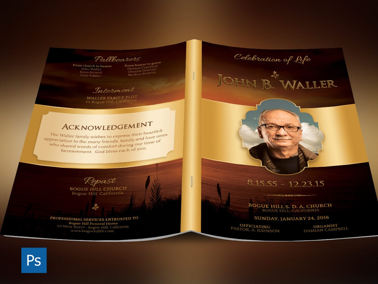sunset funeral program photoshop template