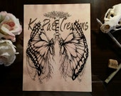 Hand Stained Coffee Paper Butterfly Lungs Human Anatomy Original Illustration Medical Wall Art
