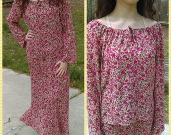 Vintage 2 Piece Set  By NORTON MCNAUCHTON Size Medium Blouse and Skirt