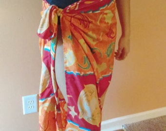 Vintage Beach sarong or Wrap Pretty design with Fish and Vivid Colors One Size Fit All