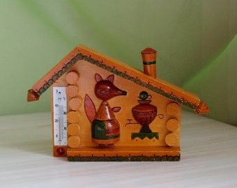 Wooden Thermometer, vintage Soviet thermometer, USSR temperature indicator, old Russian indoor thermometer, kid's room fox house thermometer