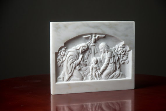 Marble nativity scene virgin mary joseph jesus relief carved