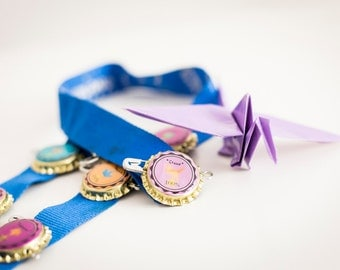 Bottle cap badges - Party printables - Origami Party - Party game - PDF - Direct Download