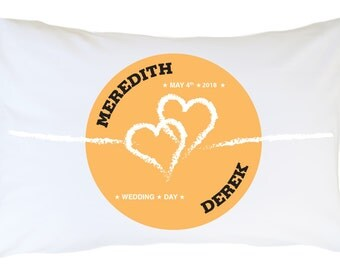 Two Hearts Personalized Pillowcase Set 2 pcs PLW07- Add yor names and event date