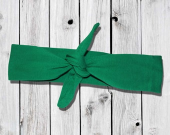 St Patrick's Day Green Knotted Headband Bowknot Girls Hair Accessory Kids Holiday Fits Infants Toddlers to Adults