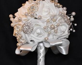 White Wedding Bouquet Bride Bridal Rose Roses Pearls Brooch Silver Satin Ribbon