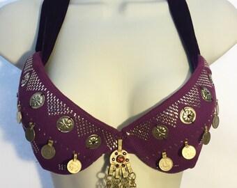 Purple Assuit Tribal Bellydance Bra 36B