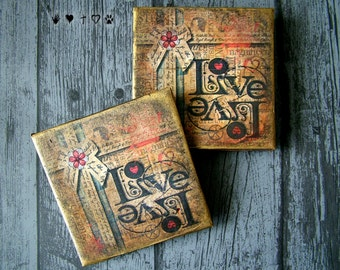 Vintage Inspired, Ceramic Coasters; Pair of Square coasters; Distressed Coasters; Table Coasters; Coaster Set; Gift for Couple; Decoupage