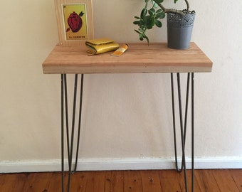 Reclaimed oregon console table with raw steel hairpin legs