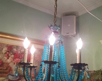 Light fixture, hanging chandelier, MCM, Retro, turquoise beads, chandelier, lamp, light, turquoise, fixture, dripping candles