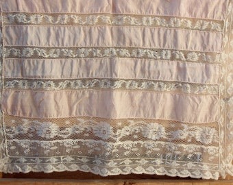 Vintage embroidered fabric France 1900