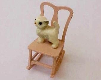 Darling Little Vintage Metal Doll House Pink Rocking Chair