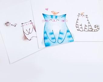 Cat Print, Affordable Art, Cat Postcard Set, Postcard, Cat Wall Art, Cat Lover Gift, Collectible Art - from original illustration